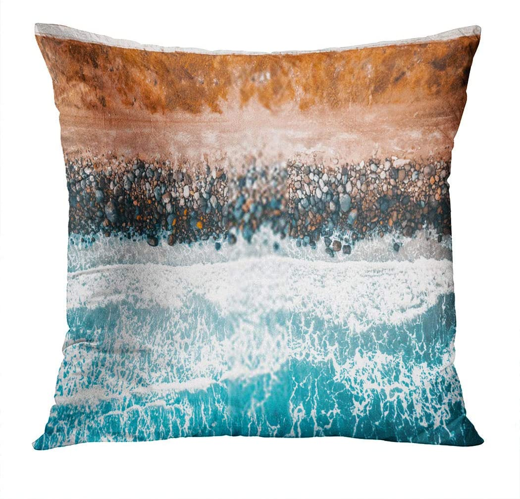 Subently Pillowcase 26x26 Inch Summer Holidays Beach Travel Vacation Couple Man and Woman Relax Enjoy Life Household Easy to Clean and Durable Soft Decorative Polyester Pillowcase Square Sofa
