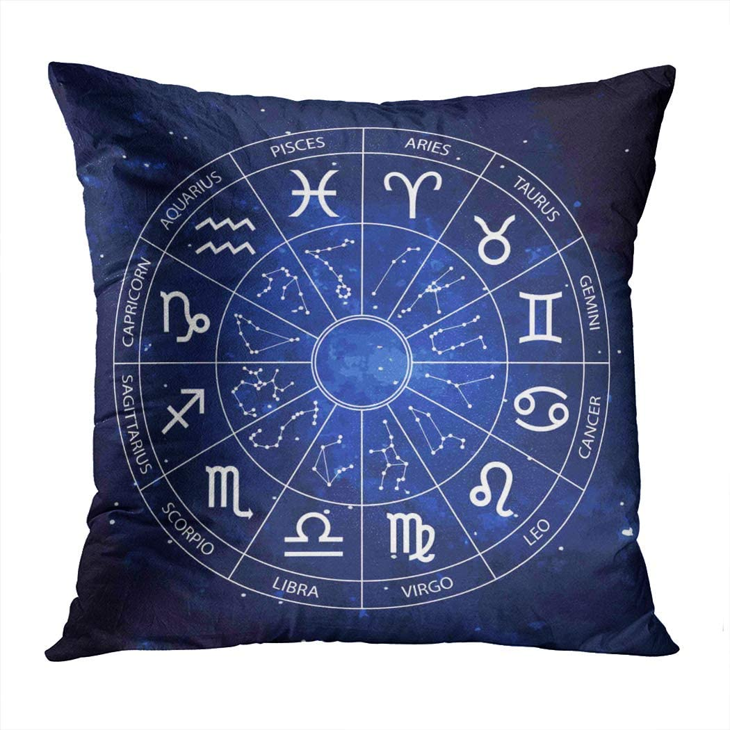 Moladika Throw Pillow Cover Square 16 X 16 Inch Graphics Astrology A Simple Geometric of The Zodiac Horoscope Cushion Home Decor Living Room Bedroom Office Polyester Pillowcase