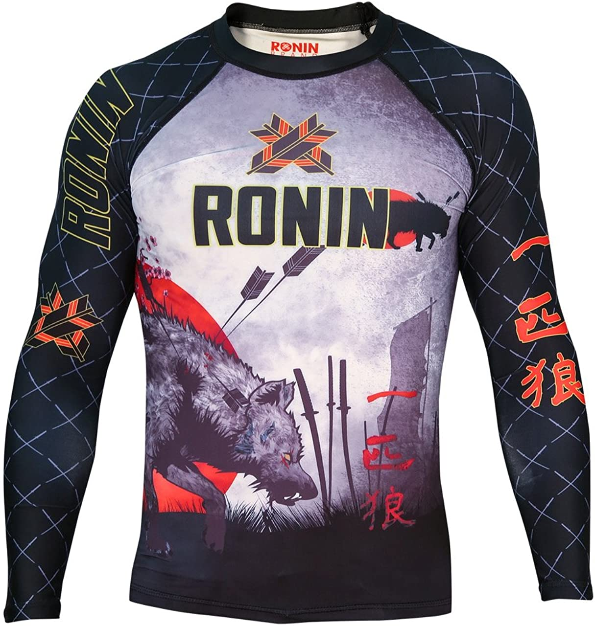 Ronin Brand Compression Long Sleeve Shirt - Baselayer Shirt for MMA, BJJ, Running - Thermal Top - Lone Wolf Motivational Design - Durable and Comfortable - Comes in S, M, L, XL, XXL
