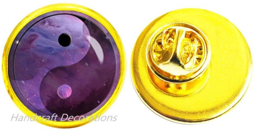 HandcraftDecorations Yin Yang Brooch Yin and Yang Jewelry Jewelry Brooch Purple and Pink Nebula Pin Galaxy Brooch.F194