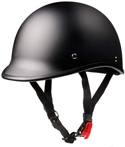 WCL Polo Motorcycle Half Helmet - DOT Approved (Large, Matte Black)