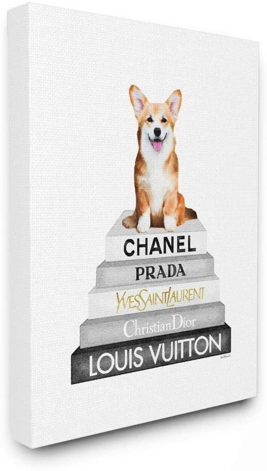 Stupell Industries Smiling Corgi Puppy on Glam Fashion Icon Bookstack Wall Art, 16 x 20, White
