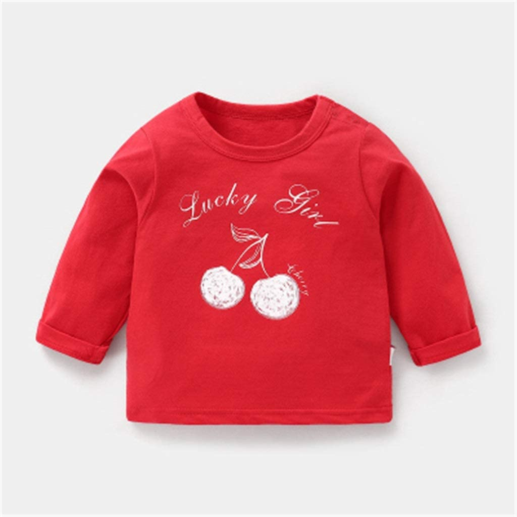 Kids' wear Girls' Long-Sleeved T-Shirts, Baby Clothes, Cotton Spring Clothes, Autumn Clothes, Kid's Girls' Baby Bottoming Shirts, Foreign Tops Summer T-Shirt (Color : U, Size : 90CM)