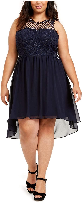 City Studio Womens Navy Embellished Glitter Lace Sleeveless Jewel Neck Above The Knee Hi-Lo Party Dress Size 18W