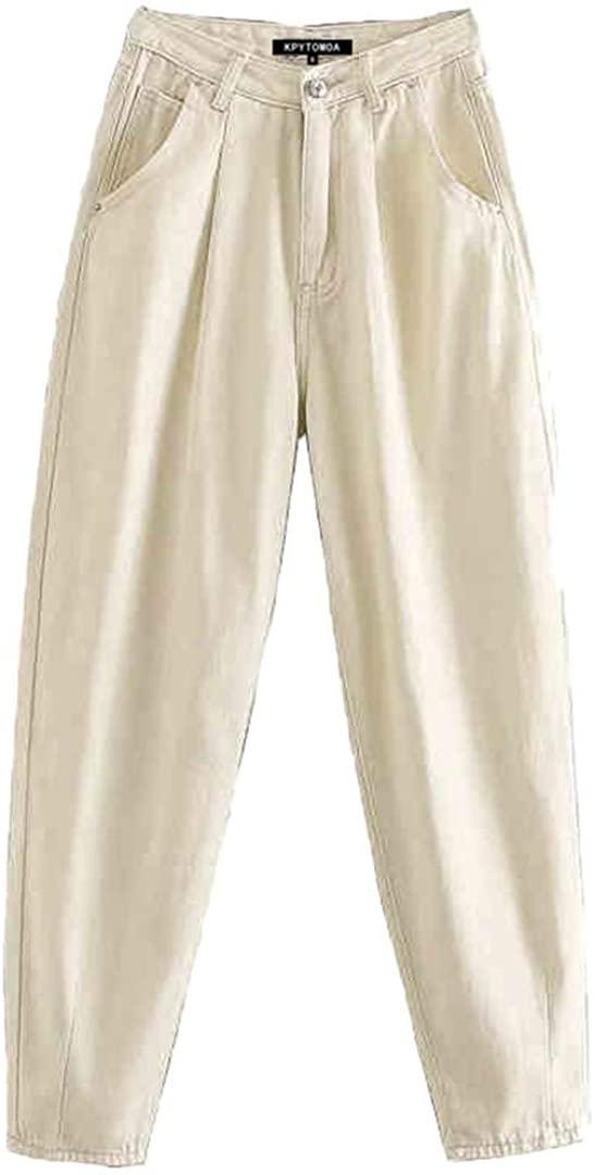 Vintage Chic Pockets High Waist Darts Jeans Women Zipper Fly Denim Harem Pants Stylish Ankle Trousers