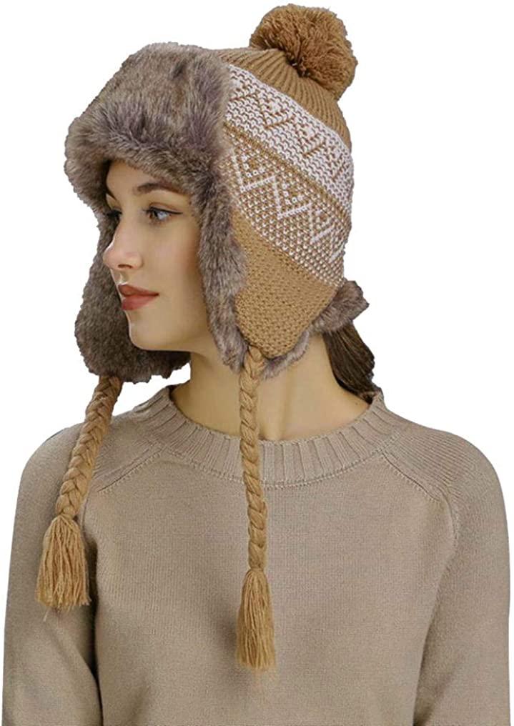 ZEFOTIM Knitting Woolen Hat,Warm Women Winter Hat with Ear Flaps Snow Ski Thick Knit Wool Beanie Cap Hat