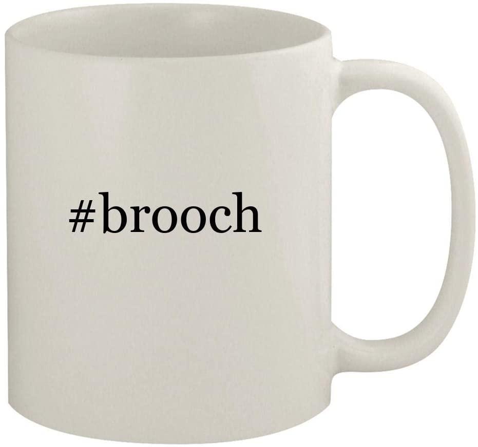 #brooch - 11oz Ceramic White Coffee Mug, White