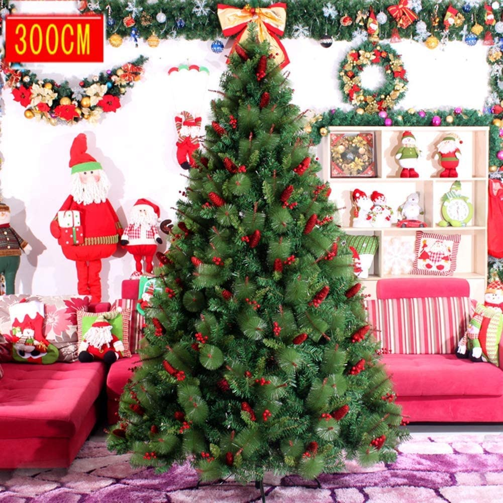 l.e.i. Artificial Premium Encrypted Green Xmas Tree,with Stand Base Branches Pine Fish Scale Pine Cone Red Fruit Mixed Christmas,for Xmas Tree Seasonal Decoration