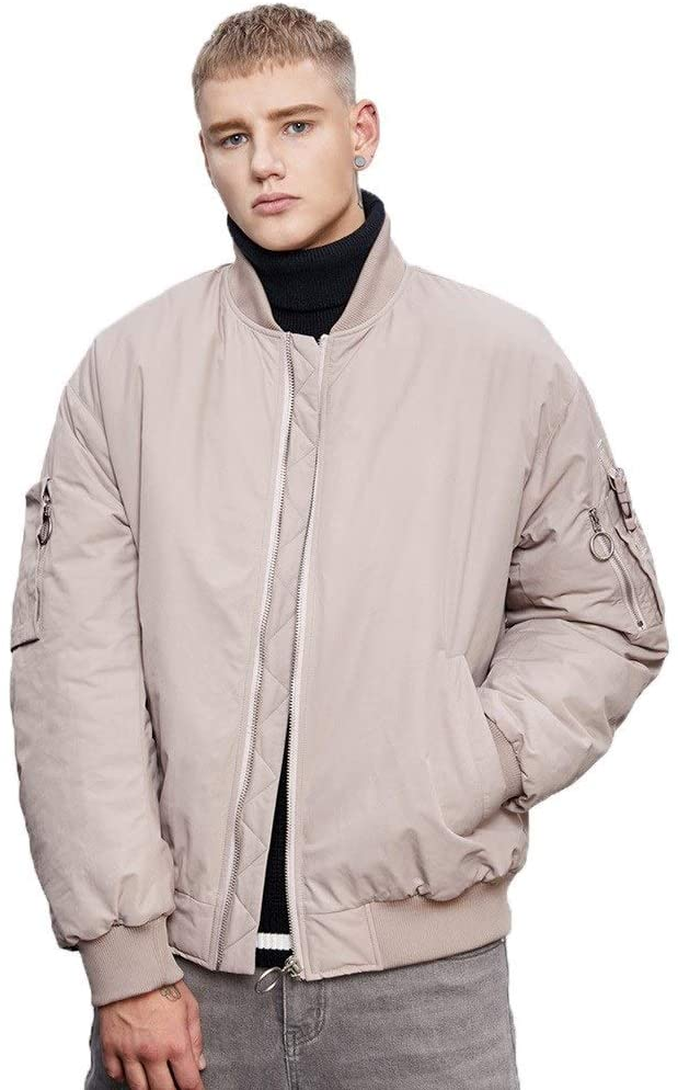 Mens Jacket Pink Letter Jacket Thick Windproof Warm Hiking Skiing Essential Fashion Waterproof Party to Overcome Loose Winter Clothes (Color : Purple, Size : S)