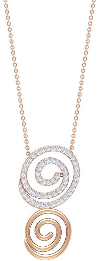 Unique Spiral 1/2 CT Round Shaped HI-SI Diamond Pendant, Unisex Gold Necklace, Contemporary Fashion Jewelry, Art Deco Charm Locket, Bridesmaid Gift