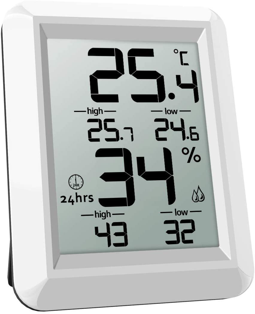 ORIA Temperature Humidity Monitor, Digital Hygrometer Thermometer, Thermometer Hygrometer Indoor, ℃ and ℉ Switch, LCD Screen, Min and Max Records, for Warehouse, Home, Office, Greenhouse, Babyroom