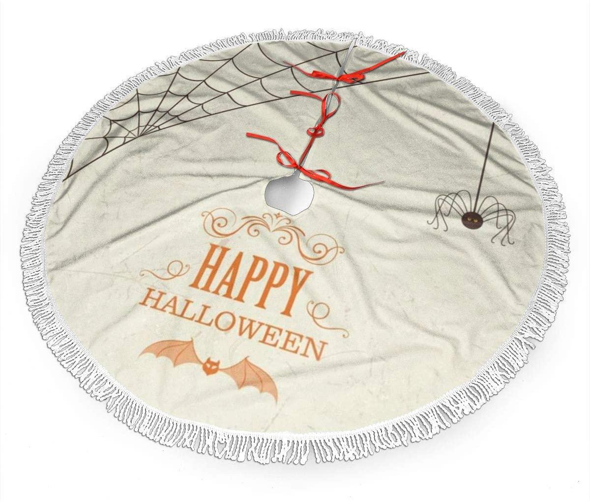N\ A Christmastree Skirt,30 inches Halloween Retro Happy Halloween Bat Hanging Spider Web Hand-Sewn White Lace Decor Xmas Tree Skirt