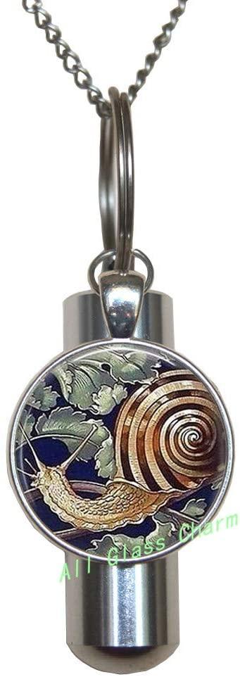 AllGlassCharm Garden Snail-Gardener Gift-Garden Snail Cremation URN Necklace-Snail URN-Snail Jewelry-Escargot-Snail Shell,AS0204