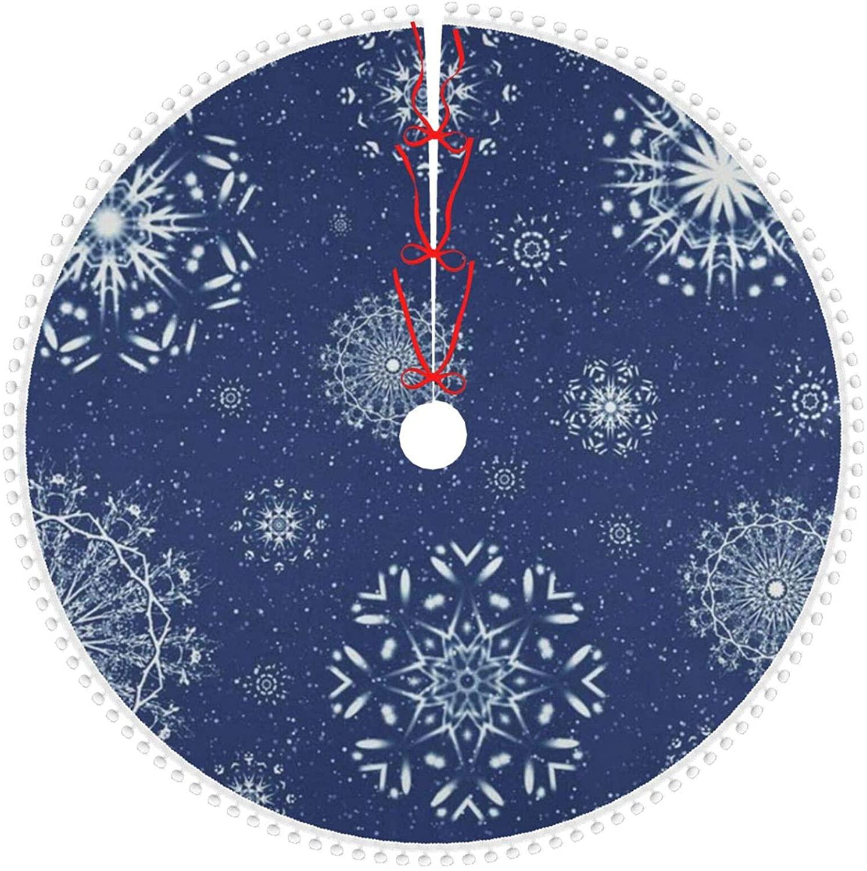 N\ A Personalized Christmas Tree Skirt Indigo Christmas Snowflake Pattern Cute Pom Xmas Tree Skirt Small 30