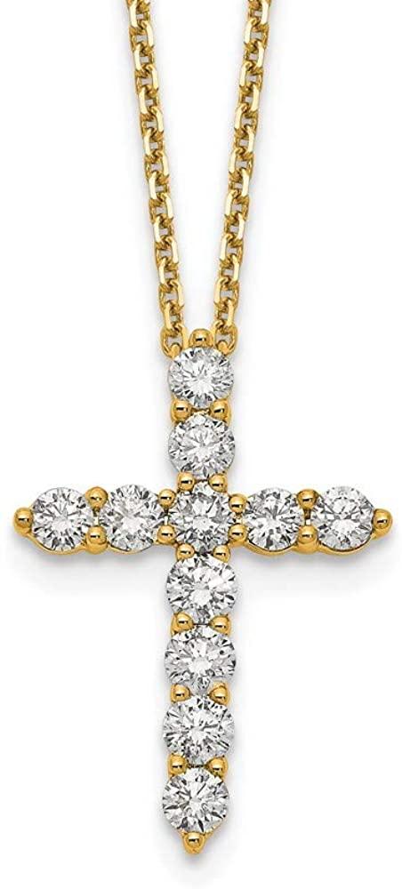 Jewelry Necklaces Diamond 14ky True Origin Lab Grown Dia VS/SI D,E,F Cross Pendant with Chain