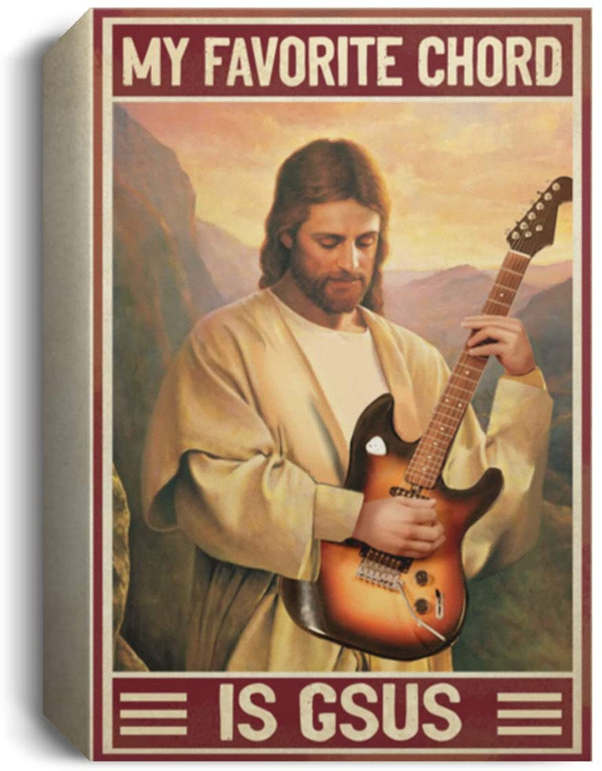 Christian Gifts My Favorite Chord is Gsus Wrapped Framed Canvas Print - Unframed Poster - Home Decor Wall Art, 32 x 48, 1.5 Deluxe Framed Canvas/White