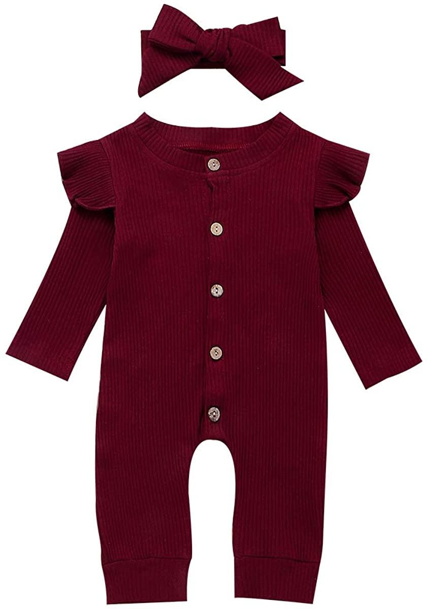 Newbron Baby Boy Girl Halloween Clothes Long Sleeve Hooded Jumpsuit Stripe Pumpkin Romper Fall Winter Clothing Set (12-18 Months, Red Ruffled Headband)