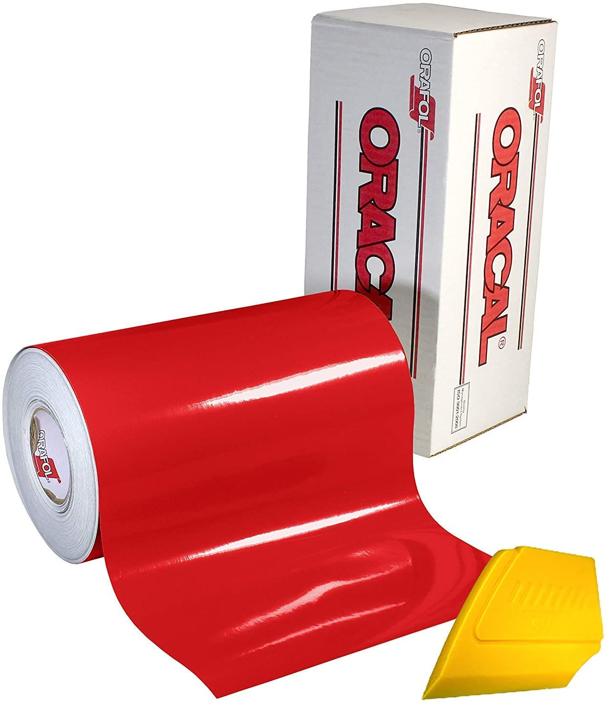 ORACAL 651 Gloss Red Adhesive Craft Vinyl 12 Inches x 6.5 Feet Large Roll Including Detailer Squeegee