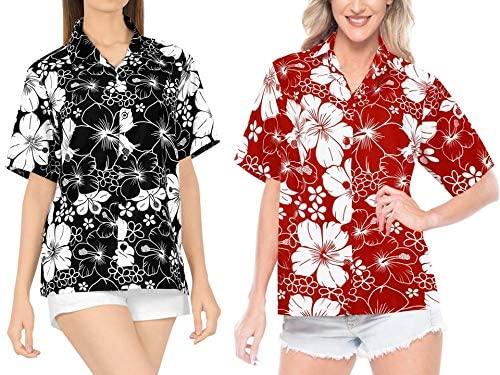 LA LEELA Women's Plus Size Hawaiian Shirt Blouse Tops Button Up Shirt Work from Home Clothes Women Beach Shirt Blouse Shirt Combo Pack of 2 Size Small
