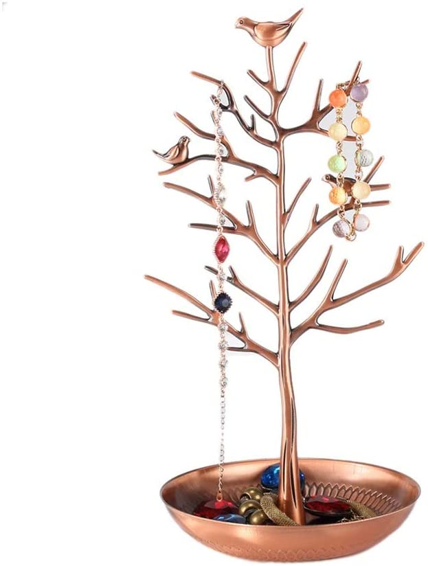 QERNTPEY Jewelry Tree Stand Alloy Bird Money Tree Jewelry Rack Ring Earrings Jewelry Display Rack Jewelry Storage Rack Earring Accessory Organizer Display (Color : Chrome, Size : One Size)