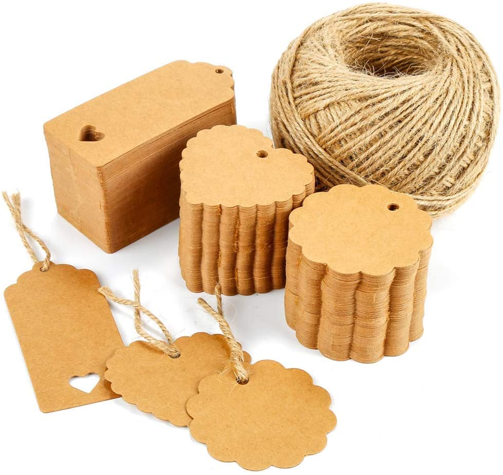 300 pieces Gift Tags, Kraft paper labels, Vegena Paper Gift Tags, Blank Tags Hang Tags with Heart and Jute Cord 100M Luggage Tag Price Tag for Wedding DIY Decoration