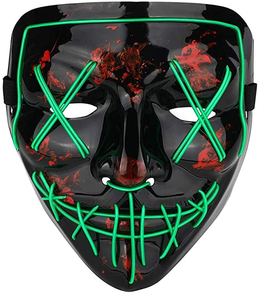 Halloween Mask LED Light Up Mask Scary Mask Cosplay Frightening Wire Creepy Costume Mask for Halloween Festival Cosplay