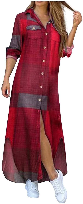 InMarry Women's Long Sleeve Half-Length Button Dresses,T-Shirts Dress for Women