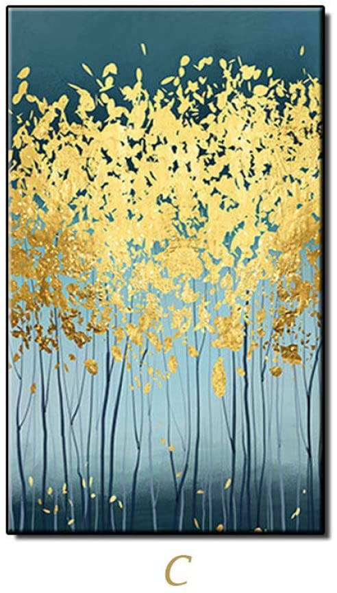 Hand Painted Oil Painting On Canvas Wall Art,Gold Money Tree Handpainted Abstract Oil Paintings Large Size Wall Art Paintings Artwork For Office Hotel Cafe Living Room Home Decor No Frame,150Cmx220Cm(