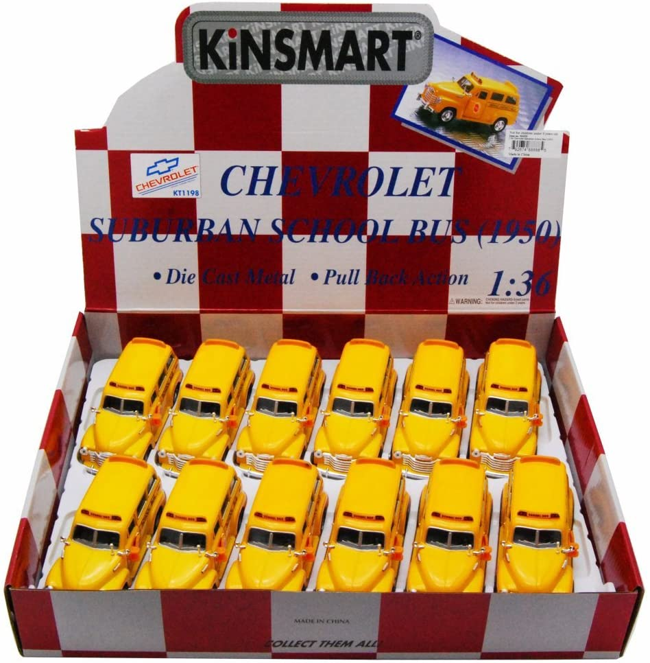 Kinsmart Box of 12 Diecast Model Toy Cars - 1950 Chevy Suburban School Bus, 1/36 Scale