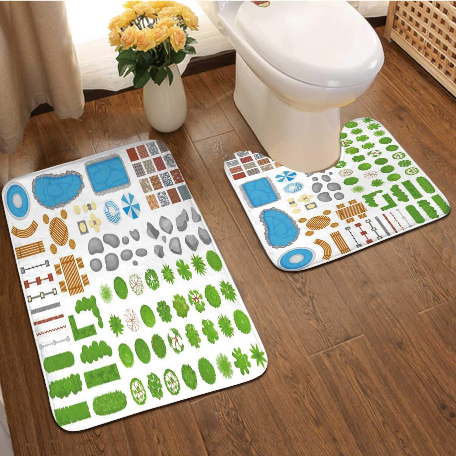 Top View Park Items.Garden walkwa,2 Pieces Bathroom Bath Rugs Set, Soft Flannel U Shaped Toilet Floor mat,Mat for Bathroom Outdoor Relaxing Parks Furniture and Gardens Trees Aerial Isolated-