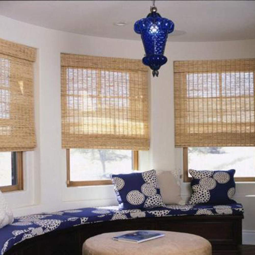 Wghz Bamboo Roller Blinds, Natural Reed Curtains, Privacy Window Shades, Breathable Mildew and Shading Retro shutters, Suitable for Tea Rooms, Balconies, Outdoor, Various Sizes
