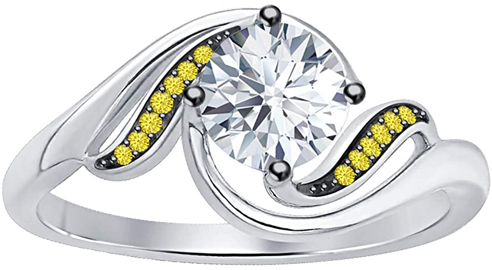 Dabangjewels Beautiful 2 Carat Round Brilliant Cut CZ Diamond & Yellow Sapphire 14K White Gold Plated Promise Swirl Rings for Womens