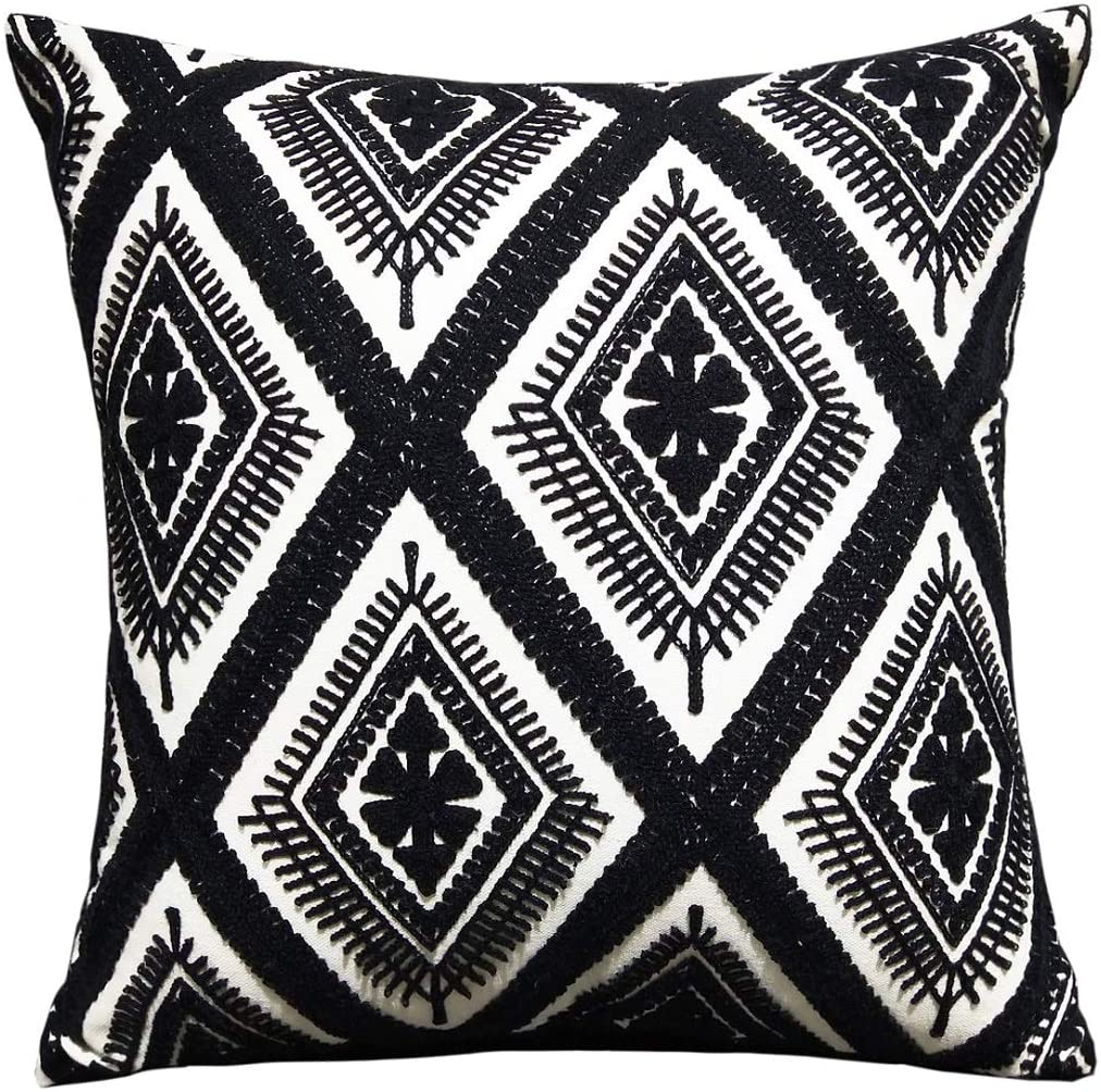 Throw Pillow Covers - FINOHOME Embroidered Pillow Case Square Decorative Cushion Cover For Sofa Bed,Black White,17 x 17 Inches,Rhombic,1 pcs