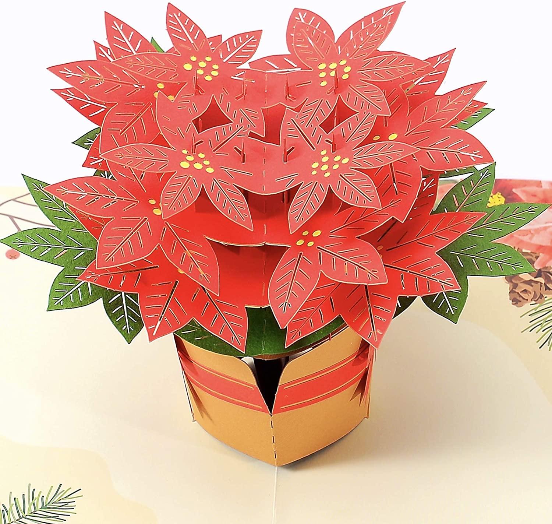 Liif poinsettia Flower 3D Christmas Pop Up Card (Large Size), Happy Christmas Cards, Holiday Card, Xmas Gift (Poinsettia)