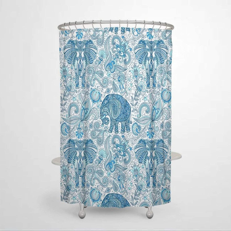 DONL9BAUER Bath Curtain Blue Paisley Elephant Shower Curtain Waterproof Bath Tub Decor with Slip Ring Hook for Bathroom Kitchen Home Decor 60