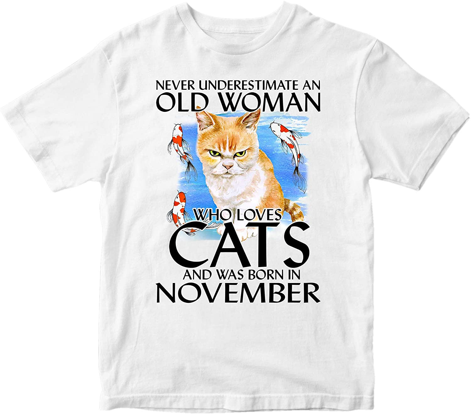 Never Underestimate A Woman Who Loves Cats and was Born in November Grumpy Cat Birthday T-Shirt, Gift for Women Girls, Cat Lovers Shirt. Sport Grey