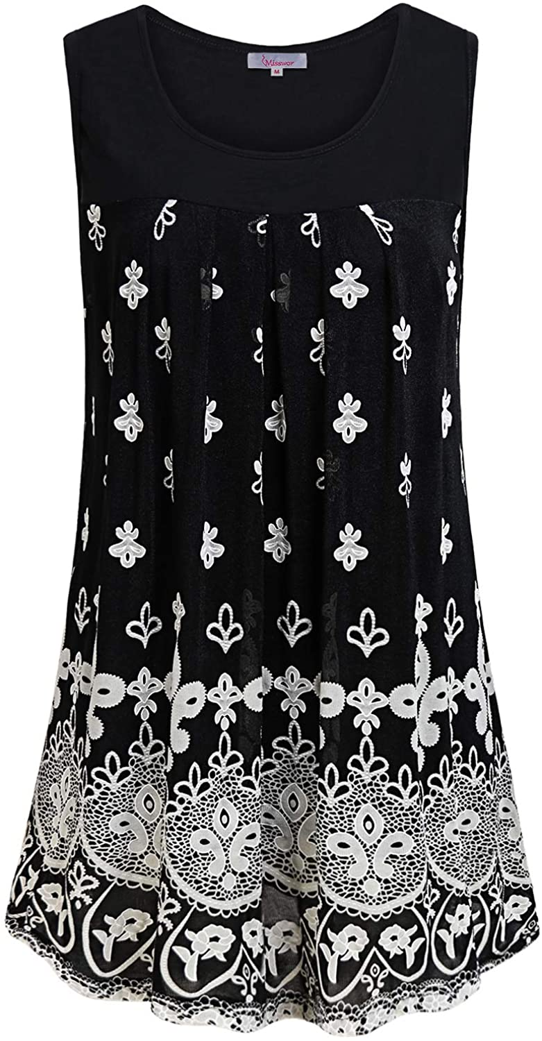 Misswor Women's Sleeveless Floral Tank Tops Double Layers Casual Blouse Tunic