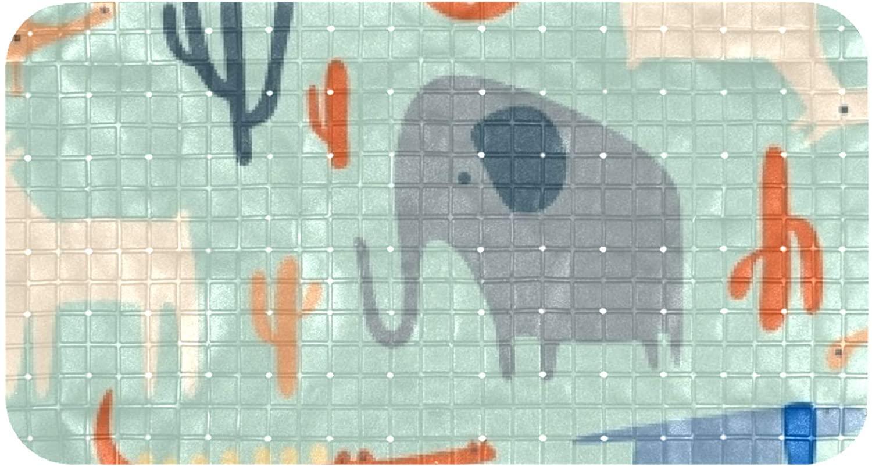 DEYYA Bathtub Mats Non Slip Bathroom Shower Mat Foot Mat with Suction Cups 100% Non-Toxic Cactus Elephant