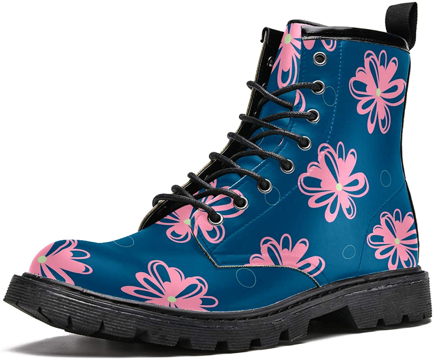LORVIES Pink Floral Pattern Men's High Top Boots Lace Up Casual Leather Ankle Shoes