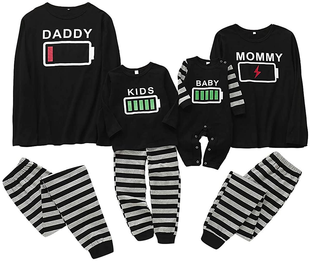 puseky Family Matching Clothes Pajamas Set Battery Print Nightwear Sleepwear for Dad Mom Kids Baby Black