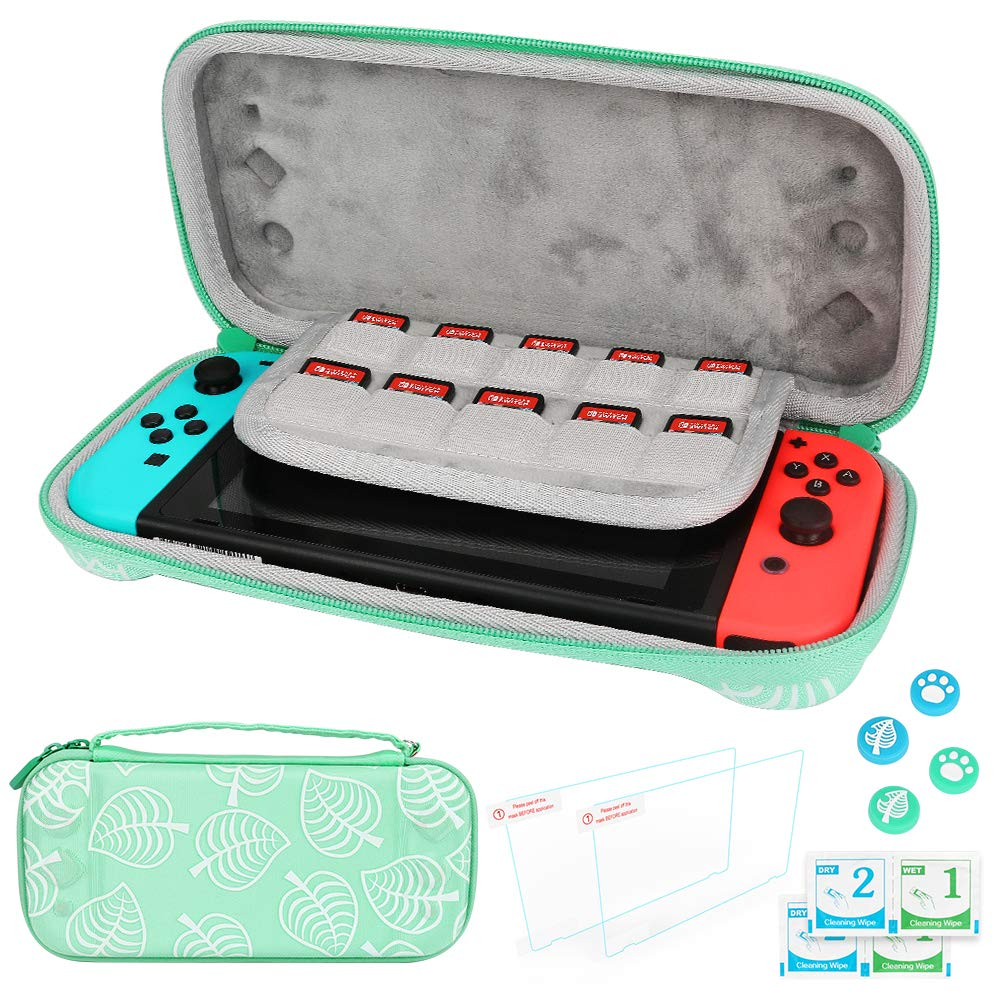 Carrying Case for Nintendo Switch, Allnice Portable Carry Case New Horizons Leaf Crossing Hard Shell Pouch with Handle, 2 Screen Protector & 4 Thumb Grip Caps Include, Nintendo Switch Accessories