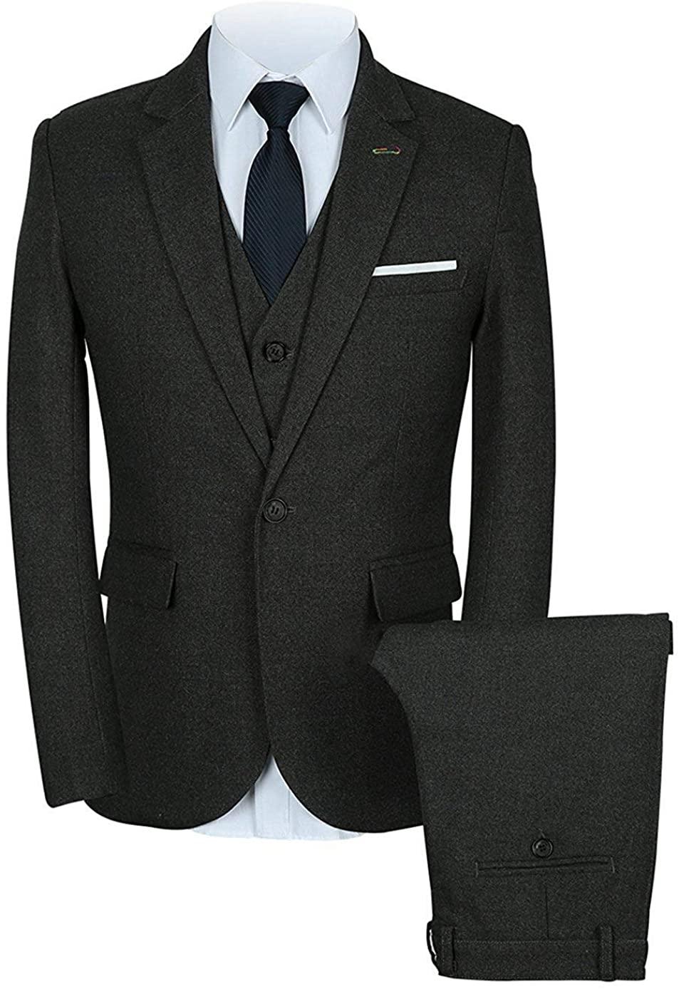 Mens Suit 3 Pieces Notched Lapel Wool Blend Formal Wedding Prom Tuxedos(Blazer+Vest+Pants)(Grey,50S