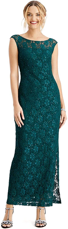 Connected Apparel Womens Green Sleeveless Cowl Neck Maxi Sheath Evening Dress Size 12
