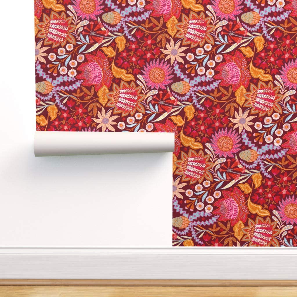 Spoonflower Peel and Stick Removable Wallpaper, Chintz Floral Pattern Australian Flora Banksia Waratah Christmas Bells Fennel Print, Self-Adhesive Wallpaper 12in x 24in Test Swatch