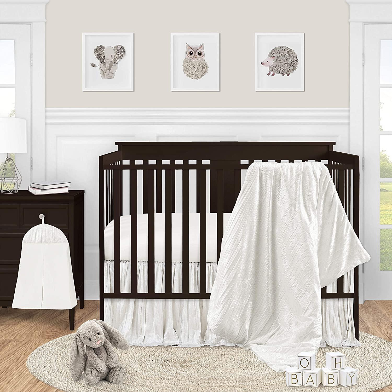 Sweet Jojo Designs Ivory Velvet Baby Girl Nursery Crib Bedding Set - 4 pieces - Solid Color Off White Cream Crinkle Crushed Luxurious Elegant Boho Shabby Chic Vintage Luxury Princess Boutique Designer