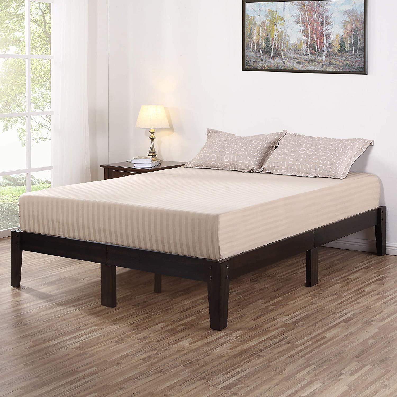 Olee Sleep Deluxe Wood Platform Bed Frame, King, Dark Brown