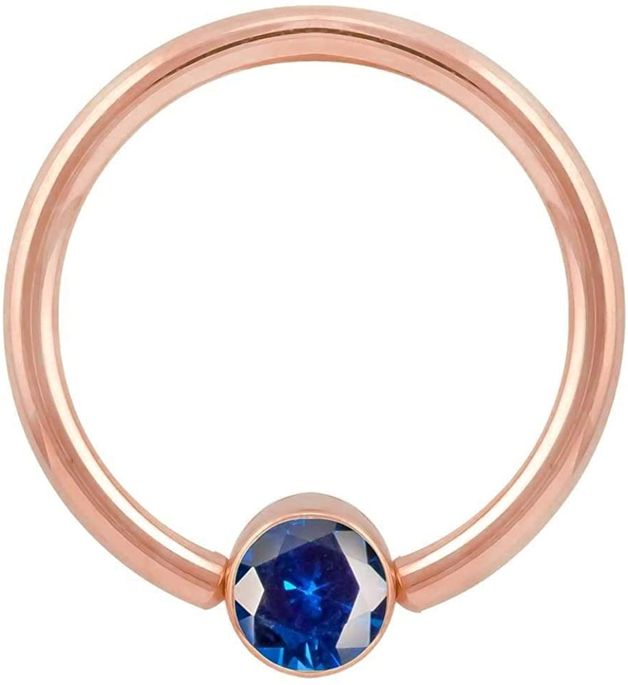 Blue Cubic Zirconia Round Bezel 14k Gold Captive Bead Ring