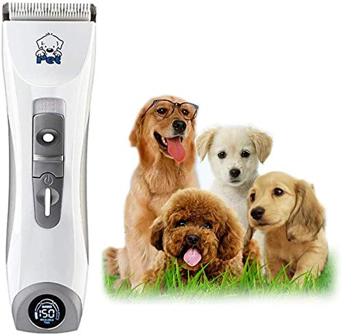 Hair Clipper Electric Pet Grooming Clippers, Pet Professional Quiet Low Noise Rechargeable Dog Grooming Clippers Cordless Pet Hair Trimmer, LED display, Best Hair Clipper for Dogs Cats pets