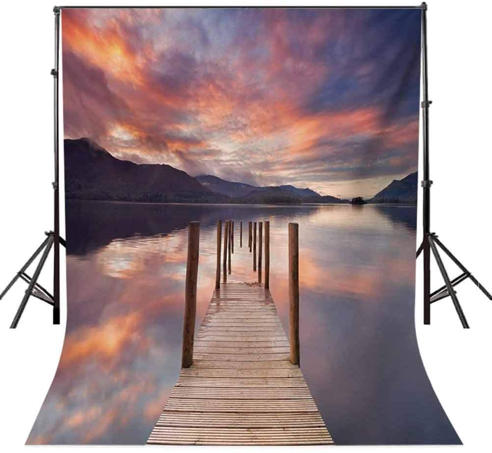 10x20 FT Photography Backdrop, A Flooded Jetty in Derwent Water Lake District England Sunset Morning Photo Background for Baby Shower Birthday Wedding Bridal Shower Party Decoration Photo Studio