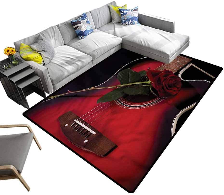 Red and Black, Area Rug Guitar with Love Rose Geometric Moroccan Rugs with No-Slip pad, 4'x 4'